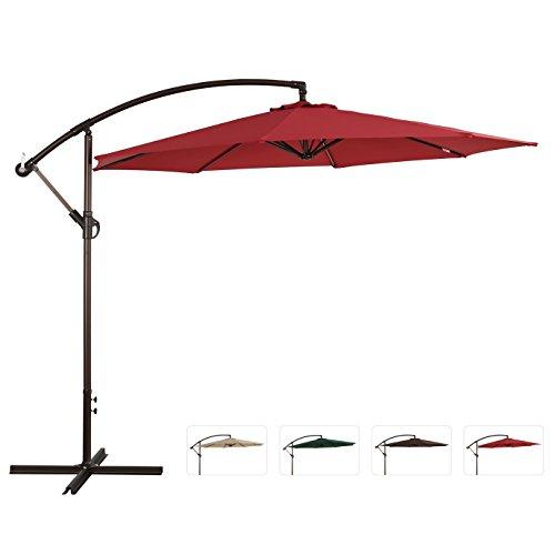 Ulax Furniture 10 Ft Offset Cantilever Hanging Patio Umbrella Tilt Wcrank Outdoor Pu Coated Waterproof Red
