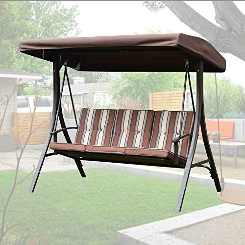 AlekShop Outdoor Gazebo Swing Sling Awning Chair Sofa Bench 3 Person wCanopy Removable Cushion Patio Porch Furniture Hammock Steel Lounge Garden Yard