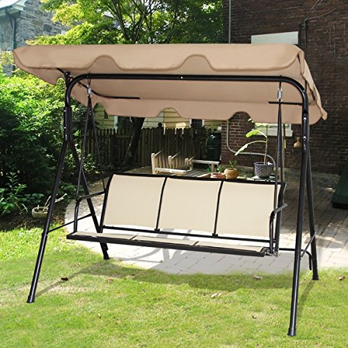 AlekShop Outdoor Swing Sling Awning 3 Person Chair Sofa Canopy Patio Porch Furniture Hammock Steel Lounge Garden Yard