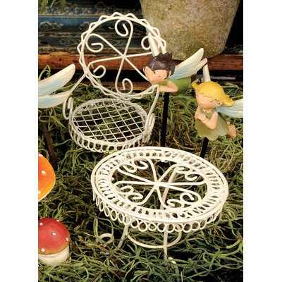 2 Piece Fairy Garden Table and Chair Figurine Set