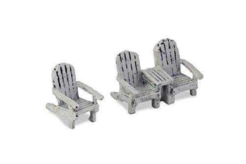 Lunarland Miniature Dollhouse Fairy Garden Micro Mini Adirondack Chair Set White