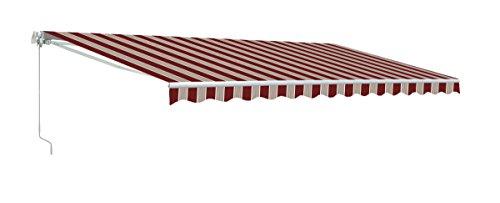 Aleko&reg 12x10 Feet Retractable Patio Awning Multistripe Red 35m X 3m