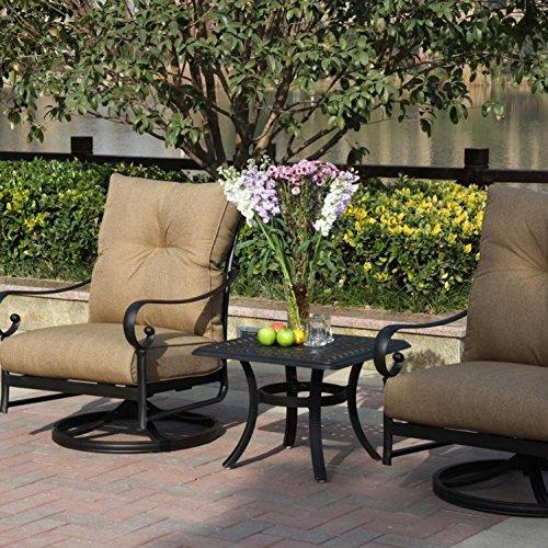 Darlee Santa Anita 3 Piece Cast Aluminum Patio Conversation Seating Set With Swivel Rockers