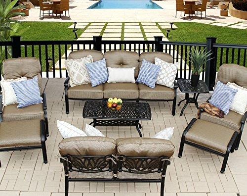 Elizabeth Cast Aluminum Powder Coated 9pc Outdoor Patio Sofa Deep Seating Chat Set - Antique Bronze