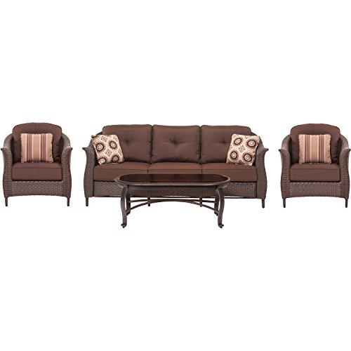 Hanover Gramercy4pc-brn Gramercy 4 Piece Wicker Patio Seating Set Brown