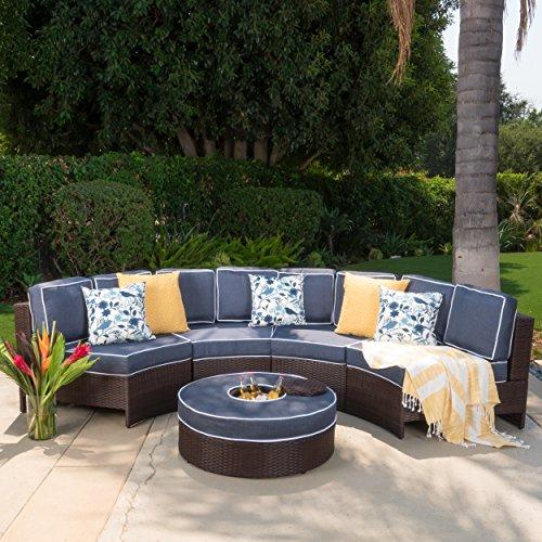 Riviera Ponza Outdoor Patio Furniture Wicker 4 Piece Semicircular Sectional Sofa Seating Set w Waterproof Cushions Ice Bucket Ottoman Navy Blue