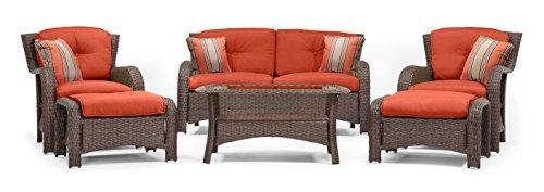 Sawyer 6 Piece Patio Seating Set Grenadine Orange by La-Z-Boy Outdoor