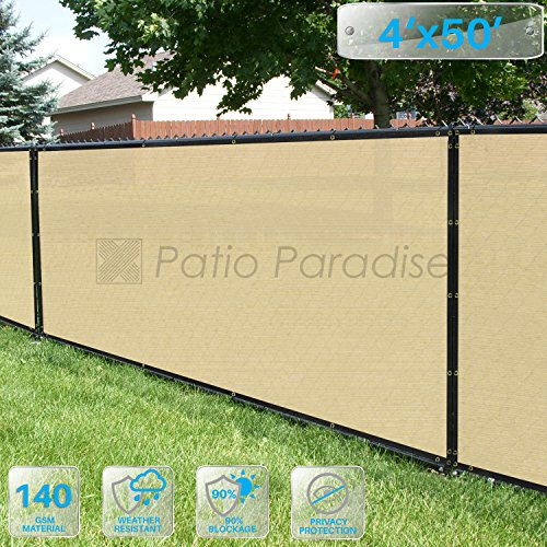 Patio Paradise 4 x 50 Tan Beige Fence Privacy Screen Commercial Outdoor Backyard Shade Windscreen Mesh Fabric with brass Gromment 85 Blockage- 3 Years Warranty Customized Sizes Available