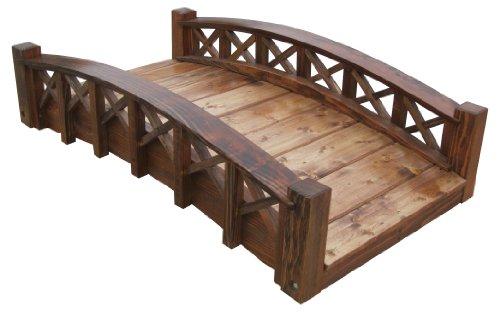 Samsgazebos Swan Wood Garden Bridge With Cross Halved Lattice Railings 4-feet Brown