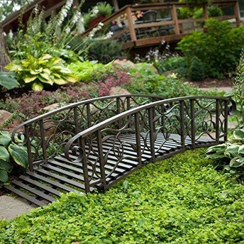 Metal Garden Bridge Rustic Steel Outdoor Pond Foot Walkway 6 Ft Black Yard Decorgy583-4 6-dfg233365