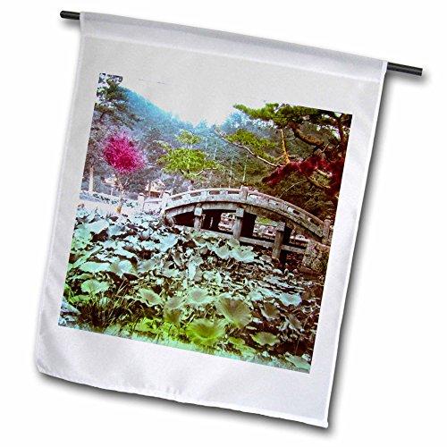 Scenes From The Past Magic Lantern - Vintage Japanese Lotus Pond And Bridge Japan Magic Lantern Slide 1910 - 18