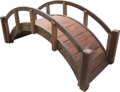 Samsgazebos Miniature Japanese Treated Wood Garden Bridge 29-inch Brown