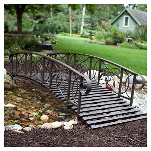 Garden Bridge 8-Ft Metal Garden Bridge in Weathered Black Finish - 750-lb Weight Capacity