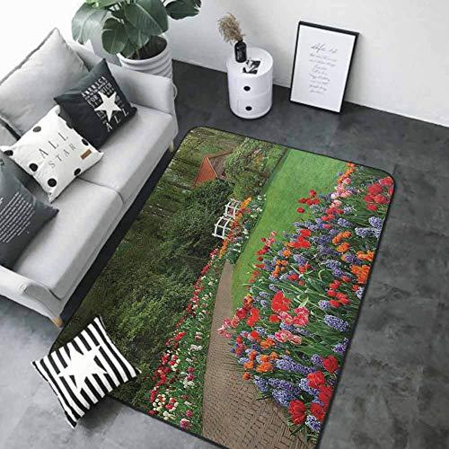 Outdoor Kitchen Room Floor Mat Country Home DecorA Spring Garden with ForestHutSmall BridgePlantsFlowerbeds and WalkwayGreen Purple 72 x 48 in Rubber mat