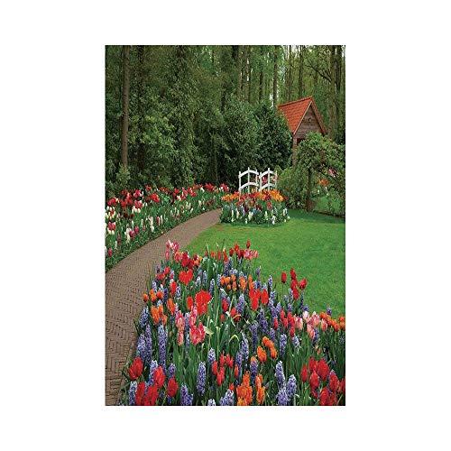 Polyester Garden Flag Outdoor Flag House Flag BannerCountry Home DecorA Spring Garden with Forest Hut Small Bridge Plants Flowerbeds and WalkwayGreen Purplefor Wedding Anniversary Home Outdoor Gar