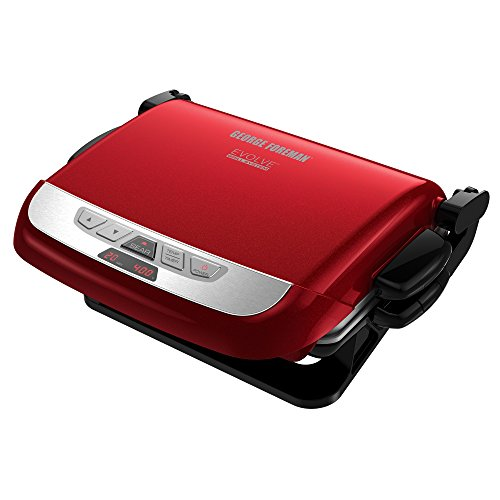 George Foreman GRP4800R Multi-Plate Evolve Grill Ceramic Grilling Plates Deep-Dish Bake Pan and Muffin Pan Included Red