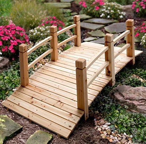 5 Wood Plank Garden Bridge with Rails