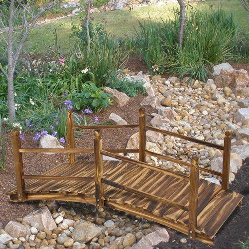 Best Choice Products&reg Wooden Bridge 5 Stained Finish Decorative Solid Wood Garden Pond Bridge New
