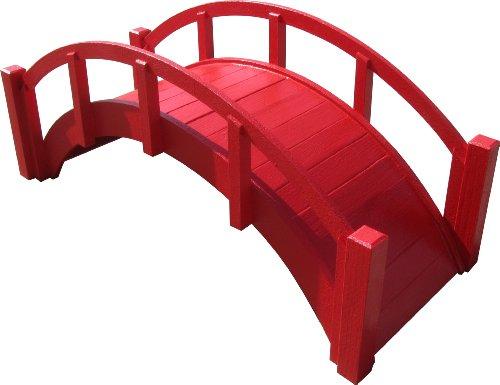 Samsgazebos Miniature Japanese Wood Garden Bridge 29-inch Red