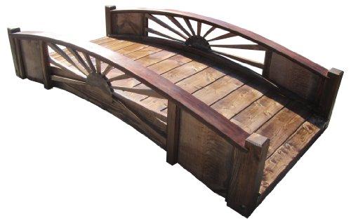 Samsgazebos Sunburst Wood Garden Bridge 6-feet Brown