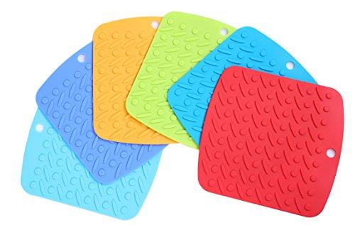 Silicone Pot Holder Trivet Mat set Of 6 Colorful -- Durable Heat Resistant Kitchen Utensils - Dishwasher