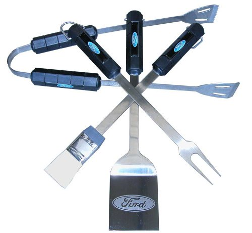 Motorhead Products Mh1083 Ford 4-piece Bbq Grilling Utensil Set