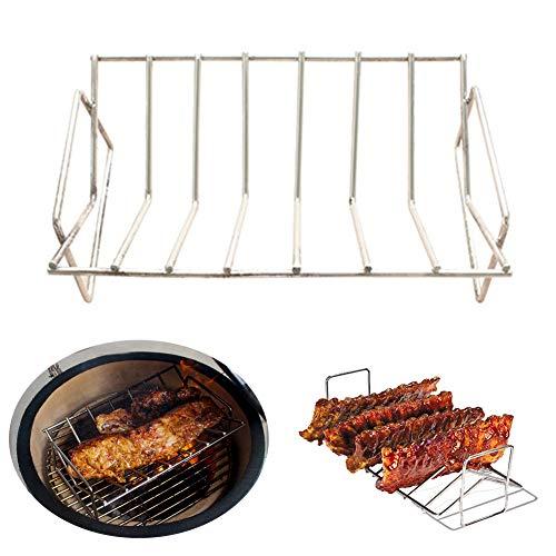 DYEY BBQ Roast Rack BBQ Rib RackV-Rack GrillsStainless Steel Roast Rack for Barbecuing Camping PicnicsSilver