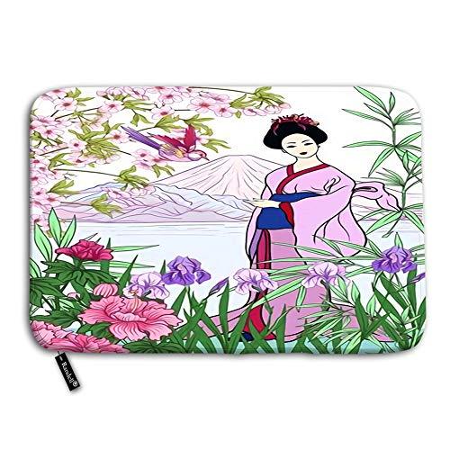 Non Slip Doormat Japanese Landscape with Mount Fuji Sea Woman in Kim Funny Doormat Indoor Outdoor Rug 236W X 157L