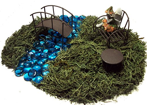 Fairy Garden Kit - Includes Fairy Bench Table Bridge Blue Glass Stones Moss And Instructions