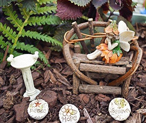 Fairy Garden Starter Or Accessory Set - Wood Vine Bench Fairy Bird Bath Three Stepping Stones And Fairy Garden