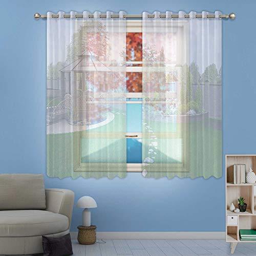 MOOCOM Alfresco Living Area Sheer Window Curtain3D Render for HomeW58in x H36in