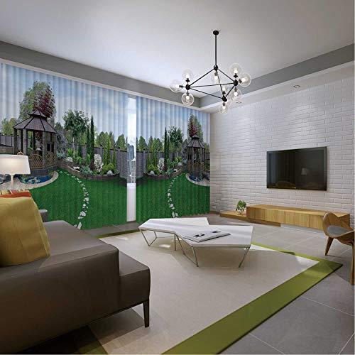 MOOCOM Alfresco Living Area Sheer Window Curtains3D Render for Living Room Curtains120x66