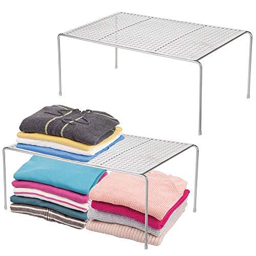 mDesign Modern Metal Closet Cabinet Countertop Organizer Storage Shelf for Bedrooms Bathrooms Entryways and Hallways - Durable Steel Non-Skid Feet - 2 Pack - Silver