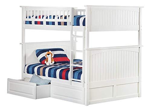 Atlantic Furniture Nantucket Bunk Bed with 2 Raised Panel Bed Drawers FullFull White