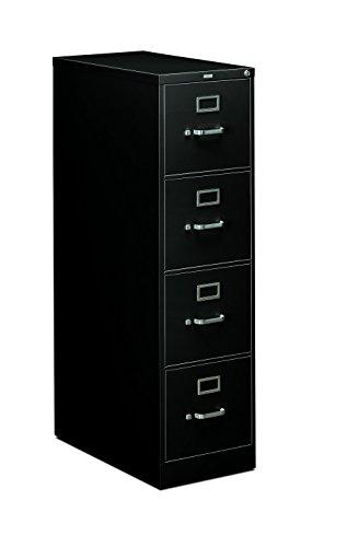 HON 4-Drawer Letter File - Full-Suspension Filing Cabinet 26-12-Inch Black 310 Series - Model 314PP