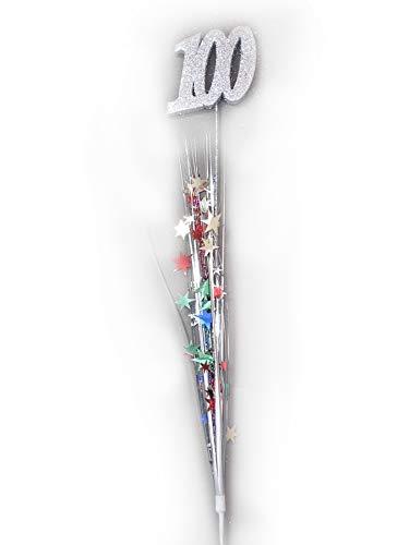 3 Pcs 100th Birthday Anniversary Multi Color Stars Onion Grass Spray Metallic Pick Decoration 24 Inches Long