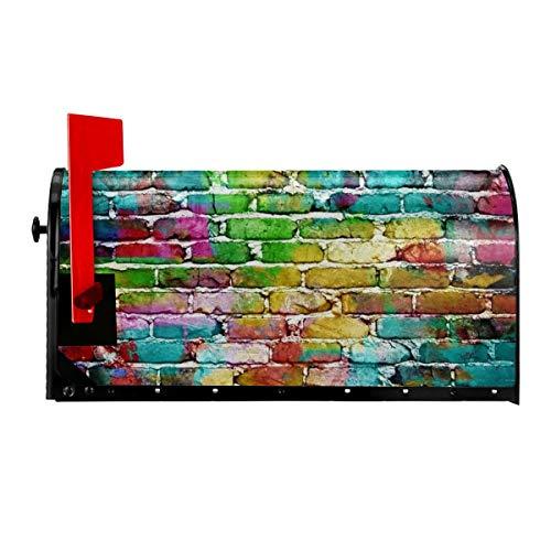 QPKML Colored Brick Wall Meets US Postal Requirements Magnetic Mailbox Cover - 21 W X18 L255 W X21 L