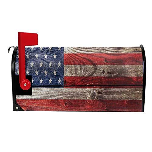QPKML Rustic American USA Flag Retro Wood Wall Meets US Postal Requirements Magnetic Mailbox Cover - 21 W X18 L255 W X21 L