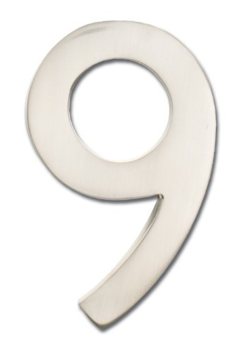 Architectural Mailboxes 3582sn-9 Brass 4-inch Floating House Number Satin Nickel 9 Color Silver Size 9 Model
