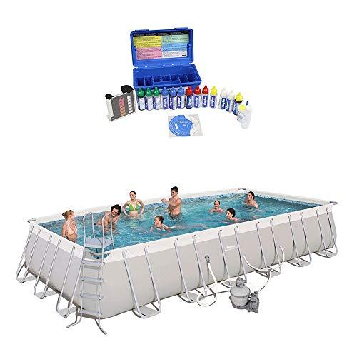 Bestway 24ft x 12ft x 52in Rectangular Frame Family Swimming Pool Test Kit