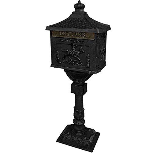 Mail Box Heavy Duty Mailbox Postal Box Security Cast Aluminum Vertical Pedestal black