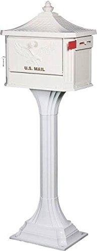 New Solar Usa Ped0000w White Pedestal Lockable Aluminum Mailboxamp Post 2750156
