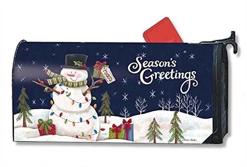 Mailwraps Snowman Lights Mailbox Cover 01240