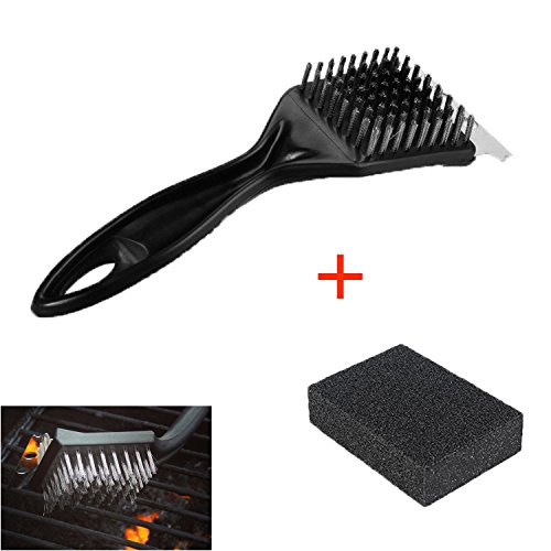 2 in 1 Grill Brush and Scraper  Cleaning Sponge Oumers BBQ Barbecue Cleaner Sponge Tools Kit Stainless Steel Bristles Easy to Remove the Stains Grime Char-Broil Weber Porcelain Infrared Grills