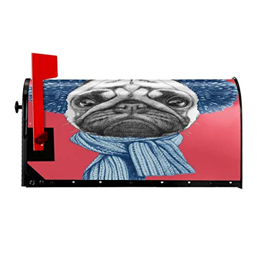 FUWANK Magnetic Mailbox Cover - 21W x 255H Detailed Dog Drawing with Scarf Earmuffs On Dark Coral Background Animal FunMailbox Wraps Post Letter Box Cover