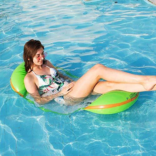 YIQI Swimming Pool Float Hammock Water Inflatable Hammock Multi-Purpose Inflatable Hammock Portable Pool Float with Free Inflator Pump Kiwifruit Style