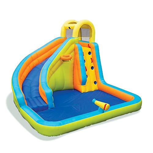 Banzai 28140 Splash N Blast 12 x 105 x 8 Foot Kids Outdoor Backyard Inflatable Water Slide Park Toy with Slide Climbing Wall Basketball Hoop Water Cannon and Splash Kiddie Pool