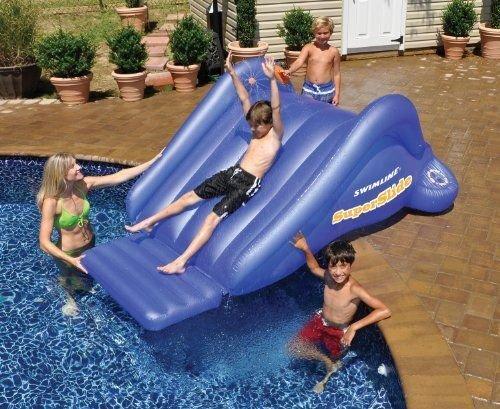 New Shop Swimline Super Water Slide Kids Inflatable Swimming Pool Game 99-inchx68-inchx4