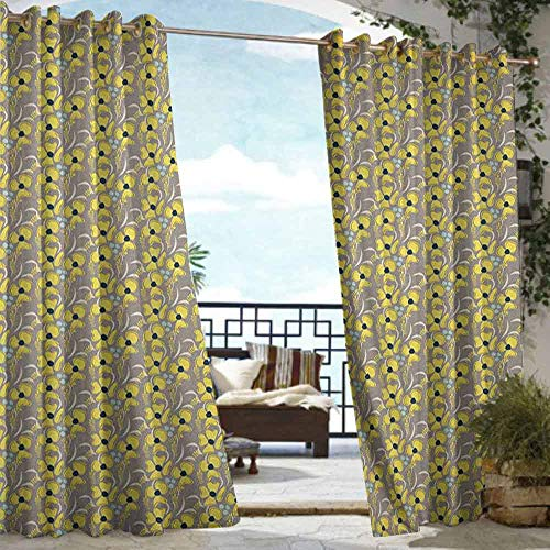 Outdoor- Free Standing Outdoor Privacy Curtain TaupeRomantic Lively Meadow Inspired Spring Yard Flowers Feminine Fashion Bouquet Indigo Yellow TaupeW84xL84 for Patio Light Block Heat Out Water P