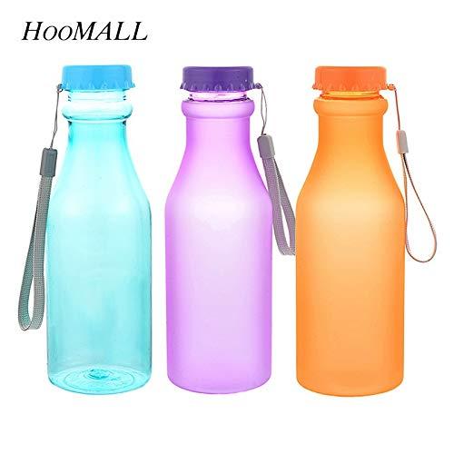 Fiesta Hoomall 550ml Portable Plastic Sports Water Bottles Kitchen Kids Unbreakable Leak-Proof Yoga Gym Fitness Drinkware for Outdoor 550ml Transparent Black